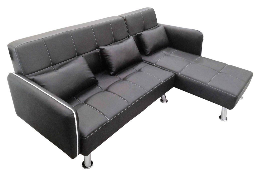 MODERN FAUX LEATHER LOUNGER SOFA WITH CHAISE - BROWN & BLACK - Exact ...