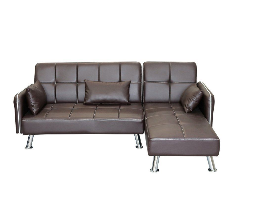 Modern Faux Leather Lounger Sofa with Chaise – Brown - Exact Viral