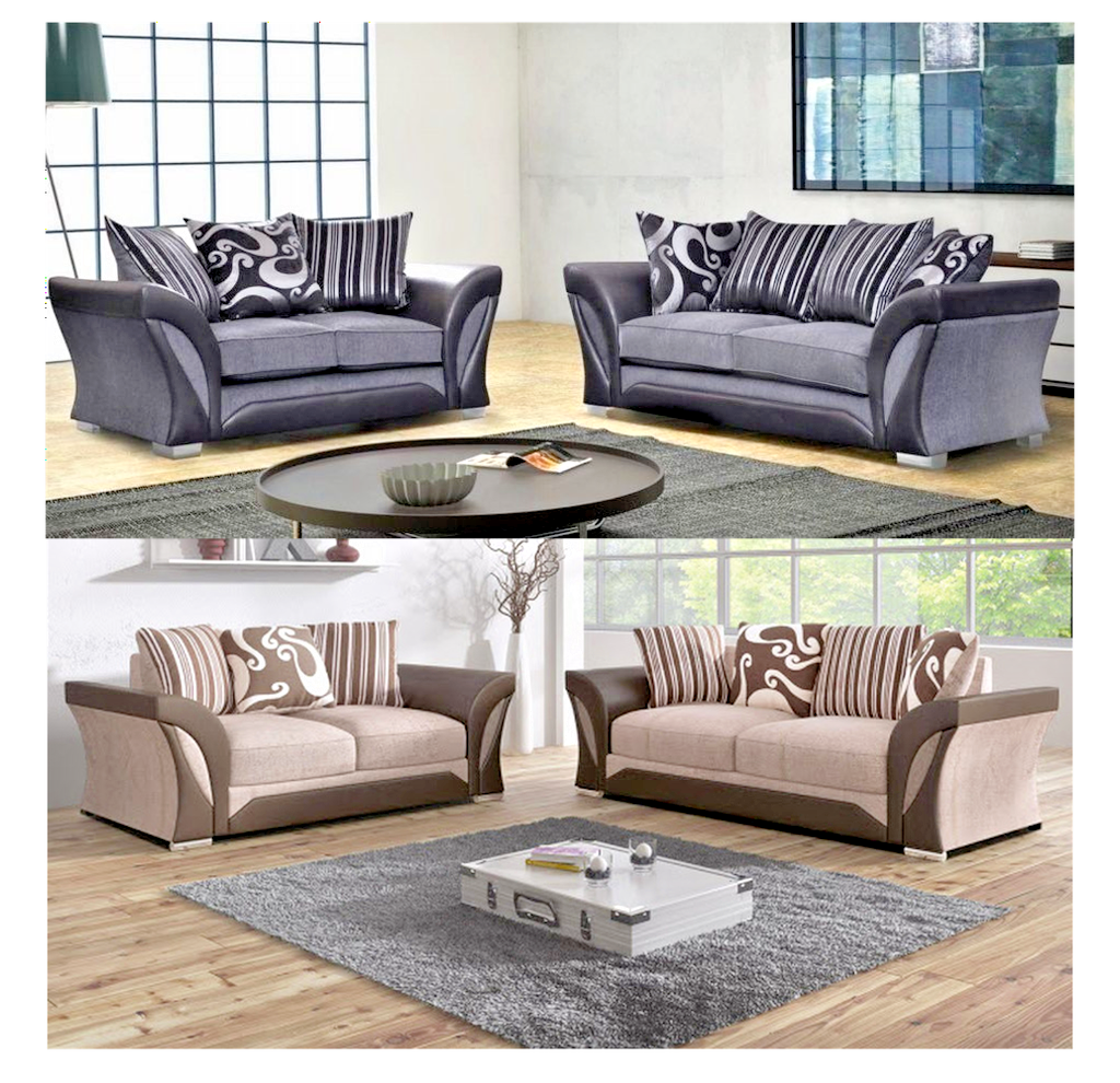 54b459c93d SHANNON LUXURY DESIGNER FABRIC & FAUX LEATHER FULL 3+2 SOFA SET IN GREY OR